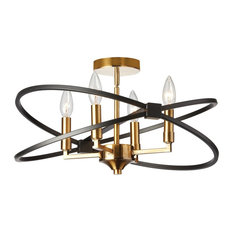 Paloma 4-Light Incandescent Matte Black Semi Flush Mount, Vintage Bronze