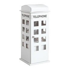 "11.5"" British White Telephone Booth Leather Jewelry Box"