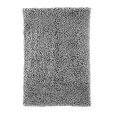 Pure Eco-Friendly Wool Flokati Shag Rug, Gray, 5'x7'