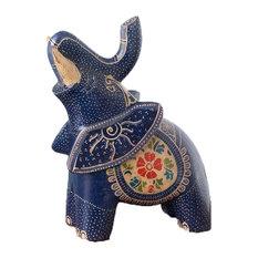 Blue Batik Elephant Statue Hand Crafted Wood Animal Figurine Tabletop Decor