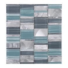"11.75""x12.6"" Jace Mixed Mosaic Tile Sheet, Blue"