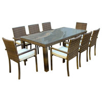 Outdoor Patio Wicker Furniture All Weather Resin 9-Piece Dining Table Set