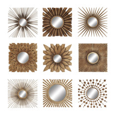 Large Square Gold Metal Wall Decor with Round Mirrors, Set of 9