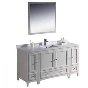 "Fresca Oxford 60"" Antique White Traditional Bathroom Vanity"