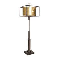 Retro Industrial Minimalist Bronze Floor Lamp, Brass Metal Shade Mid Century