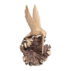 Handmade Hummingbird Joy Wood sculpture - Indonesia