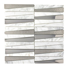 "11.75""x11.75"" Eliot Marble and Glass Mosaic Tile Sheet, White Carrara and Silver"