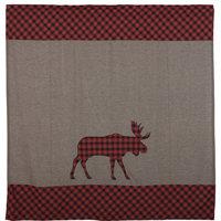 Red Rustic Bath Shasta Cabin Moose Shower Curtain Rod Pocket Cotton Nature Print