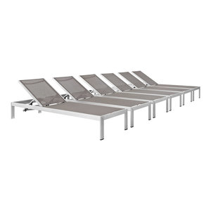 Shore Chaise Outdoor Aluminum, Set of 6, Silver Gray