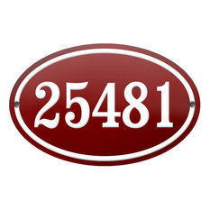 """Number """"25481"""" Enamelled Plaque, Red, With Border"""