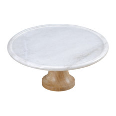 Taj Elite Footed Marble Cake Stand With Mango Wood, Creamy White, 12""