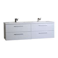 "Camino 59.5"" Modern Double Vanity Set Wall Mount High Gloss White"