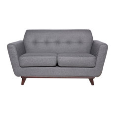 LeisureMod Modern Luray Tufted Loveseat With Walnut Oak Base, Light Gray Wool