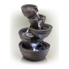 """Alpine Tiering Bowls Fountain With White LED Light, 13"""" Tall"""