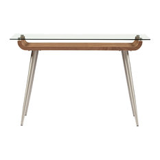 """Euro Style - Esmoriz 48"""" Console Table, American Walnut/Clear Glass/Brushed Stainless Steel - Console Tables"""