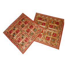 "Mogul Interior - Rust Indian Mirror Embroidered  Toss Pillow Shams 16"", Set of 2 - Decorative Pillows"