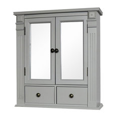 Grey Mirrored Bathroom Cabinet with Drawer Storage