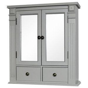 Grey Mirrored Bathroom Cabinet with Drawer Storage