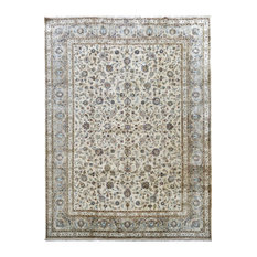 Consigned, Traditional Rug, Ivory, 11'x14', Kashan, Handmade Wool