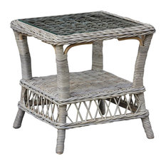 Panama Jack Seaside End Table With Glass