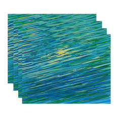 Polyester Decorative Placement, Abstract Coastal, Blue, Set of 4