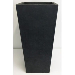 Tall Square Contemporary Light Concrete Planter, Dark Grey, Small, Dark Grey, Ex