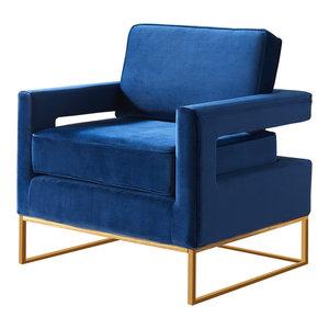 Noah Velvet Accent Chair, Navy, Gold Base