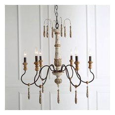 LALUZ 6-Light Shabby-Chic French Country  Retro-white Wooden Chandeliers