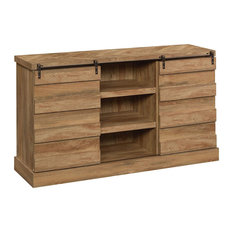 Rustic Media TV Stand Herringbone Patterned Sliding Doors And 6 Shelves Mango
