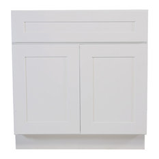"Brookings Fully Assembled Shaker Sink Base Kitchen Cabinet 42"", White"