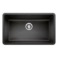 """Blanco 440149 18.8""""x32"""" Granite Single Undermount Kitchen Sink, Anthracite"""