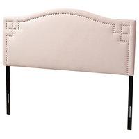Modern & Contemporary Light Pink Velvet Fabric Upholstered King Size Headboard
