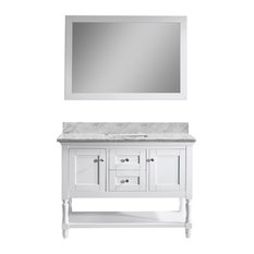 "Julianna 48"" Vanity, White, White Marble, Without Faucet, Square"