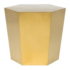 Hexa Stainless Steel Side Table Brushed Gold Stainless Steel