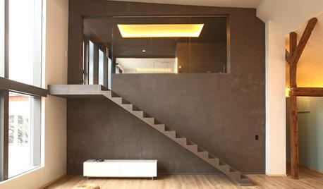 Houzz Германия: Новое бетонное «сердце» для старого берлинского чердака