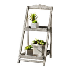 Foldable Wooden Plant Stand for Outdoor/Greenhouse, 2 Shelves