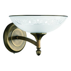 Patina Brass Decor Gold Glass Shade Wall Sconce Fitting