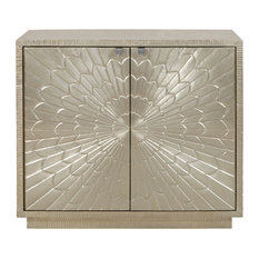 Camellia Floral Carved 2 Door Chest, Moonlight Silver