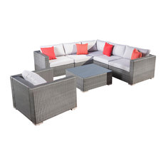 GDFStudio - 7-Piece Francisco Outdoor Wicker Seating Sectional With Cushions, Gray Set - Outdoor Lounge Sets