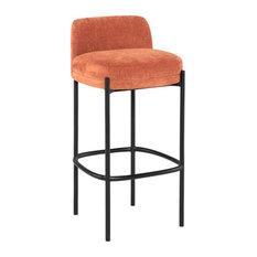 17.3-inch W Set Of 2 Bar Stool Nectarine Fabric Seat Black Metal Framework Modern