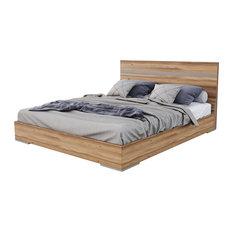 Nova Domus Lorenzo Italian Modern Light Oak Bed, Eastern King
