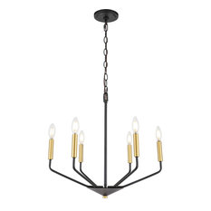 Enzo 6 Light Pendant in Black And Brass