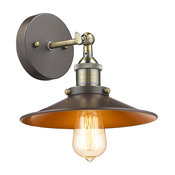 """Ironclad  1-Light Rubbed Bronze Wall Sconce 9"""" Wide"""