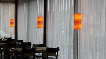 raum12 Leuchten aus Echtholzfurnier im Hotel Krone in Dornbirn/Austria