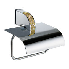 Swarovski Crystals Adhesive Toilet Roll Holder, Chrome and Gold