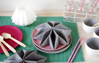 DIY : Pliez vos serviettes pour une table aux allures géométriques