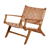 Leather Lounge Chair, Natural, With Armrests