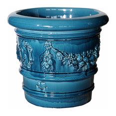 Fiori Glazed Terracotta Plant Pot, Blue, Extra Small