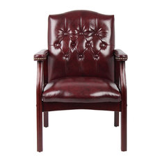 Boss Traditional Oxblood Vinyl Guest Chair With Mahogany Finish