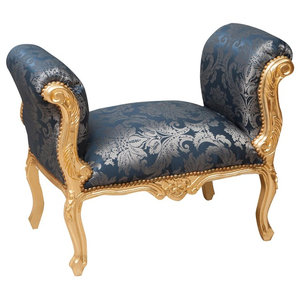 Louis XVI Upholstered Bench, Blue Damask